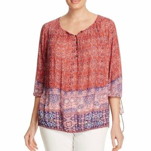 Lucky Brand Boho Red Tapestry Print Peasant Top